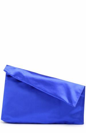 Клатч Foldover из сатина Diane Von Furstenberg. Цвет: синий