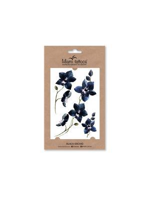 Акварельные переводные тату Miami Tattoos Black Orchid. Цвет: черный, индиго, темно-синий
