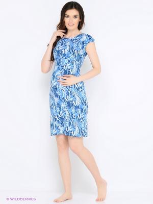 Ночная сорочка для беременных и кормления 40 недель. Цвет: синий, голубой, белый