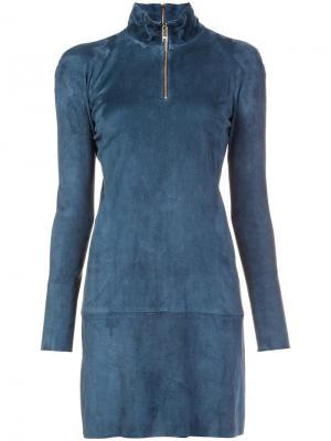 Платье с горловиной на молнии Jitrois. Цвет: синий