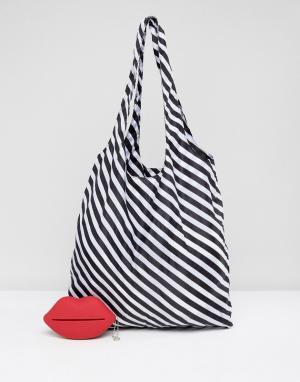 Lulu Guinness Полосатая сумка-шоппер, складывающаяся в форму красных губ Guinne. Цвет: красный
