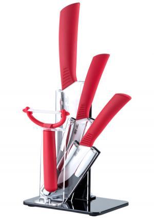 Набор ножей на подставке и овощечистка в комплекте 15см, 10см, 8см, (5 пр.) Gipfel. Цвет: красный (красный, белый)