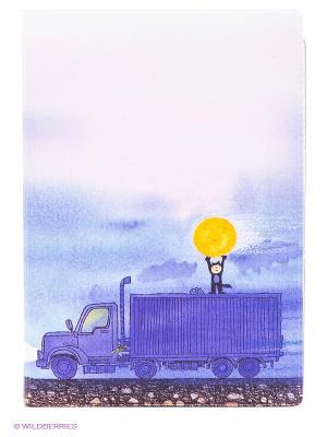 Обложка для автодокументов Мальчик, Луна и грузовик Mitya Veselkov. Цвет: сиреневый, розовый