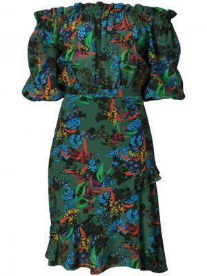 Платье с открытыми плечами bonsai Saloni. Цвет: зелёный