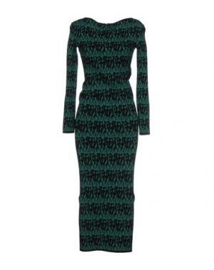 Платье длиной 3/4 HERVE' L. LEROUX. Цвет: темно-зеленый