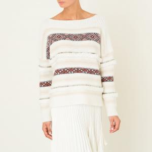 Пуловер женский EJAZ MES DEMOISELLES. Цвет: экрю