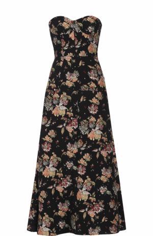 Платье-бюстье с цветочной отделкой Rochas. Цвет: черный