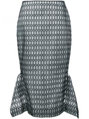 Асимметричная жаккардовая юбка Maticevski. Цвет: белый