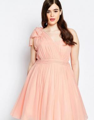 Forever Unique Plus Платье для выпускного на одно плечо со складками. Цвет: розовый