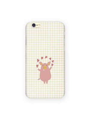Чехол для IPhone 6 Поросёнок и сердечки Mitya Veselkov. Цвет: белый, красный, желтый