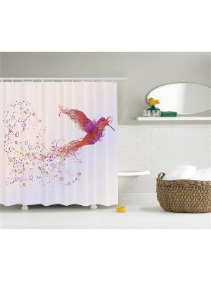 Фотоштора для ванной Волшебная птица, индеец с волками, тигр в воде, слон и бегемот, 180x200 см Magic Lady. Цвет: розовый, белый, оранжевый, фиолетовый