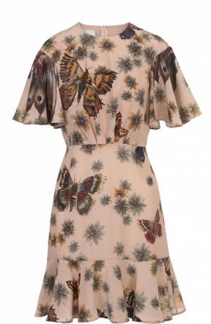 Приталенное мини-платье с оборкой и принтом Valentino. Цвет: светло-коричневый