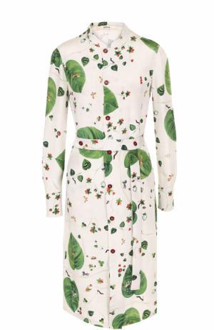 Шелковое платье-рубашка с поясом и принтом Bally. Цвет: белый