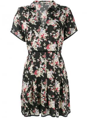 Платье со складками и цветочным рисунком Amen. Цвет: чёрный