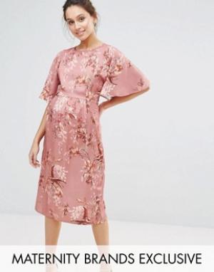 Hope and Ivy Maternity Платье миди в стиле кимоно с цветочным принтом &. Цвет: розовый
