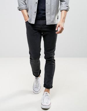 LDN DNM Черные выбеленные облегающие джинсы. Цвет: черный