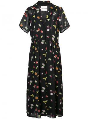 Платье с принтом фруктов Sandy Liang. Цвет: чёрный