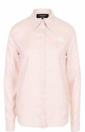 Шелковая блуза прямого кроя в полоску Rochas. Цвет: бежевый