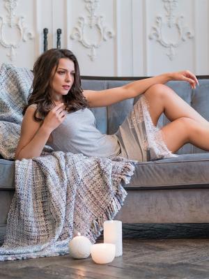 Ночная сорочка MIA-MELLA. Цвет: серый меланж