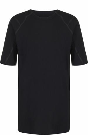 Удлиненная хлопковая футболка с отделкой из натуральной кожи Isaac Sellam. Цвет: черный