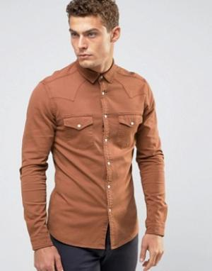 ASOS Оранжевая джинсовая рубашка скинни в стиле вестерн. Цвет: оранжевый