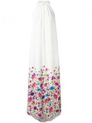 Платье с цветочным принтом Oscar de la Renta. Цвет: белый