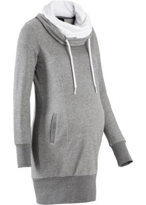 Трикотажное платье для беременных (серый меланж) bonprix. Цвет: серый меланж