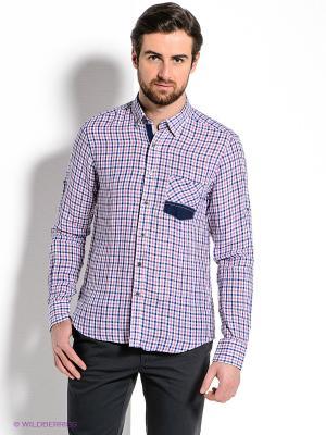 Рубашка MONDIGO. Цвет: синий, розовый, белый