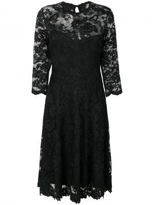 Расклешенное платье с кружевной вышивкой Olvi´S. Цвет: телесный