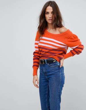 Free People Полосатый джемпер с добавлением шерсти альпака Complete Me. Цвет: оранжевый