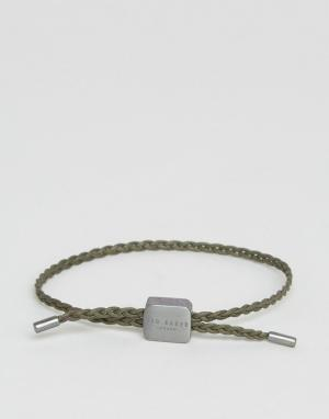 Ted Baker Зеленый плетеный кожаный браслет. Цвет: зеленый