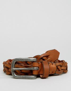 ASOS Светло-коричневый ремень из кожи с серебристой пряжкой. Цвет: рыжий