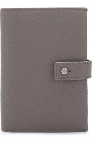 Кожаное портмоне с футляром для кредитных карт Saint Laurent. Цвет: серый