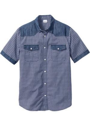 Джинсовая рубашка с коротким рукавом Regular Fit (синий) bonprix. Цвет: синий
