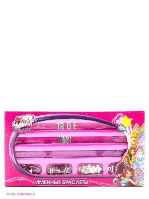 Набор для творчества  именные браслеты Winx, браслеты, русс. буквы, подвески Multiart. Цвет: розовый