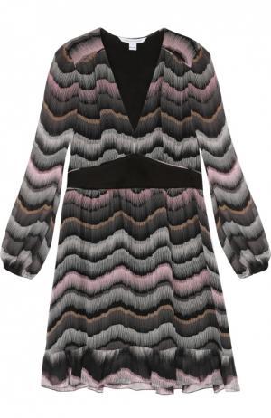 Приталенное полупрозрачное платье с V-образным вырезом Diane Von Furstenberg. Цвет: разноцветный