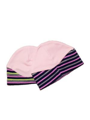 Шапочка 2 шт. интерлок/кашкорсе КиСса. Цвет: розовый, персиковый, серый
