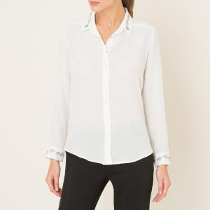 Рубашка из шелка с вышивкой THE KOOPLES. Цвет: экрю