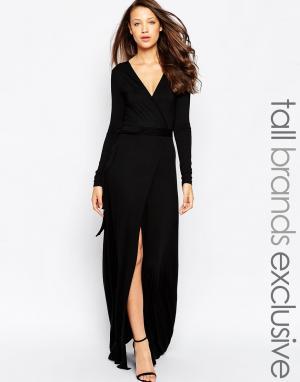 Taller Than Your Average Платье макси с запахом и высоким разрезом TTYA. Цвет: черный