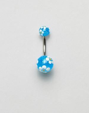 Kingsley Ryan Пирсинг для пупка с цветочным принтом. Цвет: серебряный