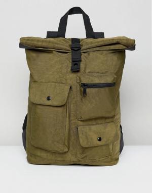ASOS Выбеленный рюкзак цвета хаки с подворачивающимся верхом и карманами AS. Цвет: зеленый