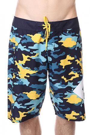 Шорты пляжные DC Lanai Yellow Pop Army Shoes. Цвет: синий,голубой,желтый