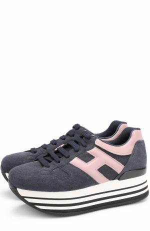 Комбинированные кроссовки на платформе Hogan. Цвет: синий