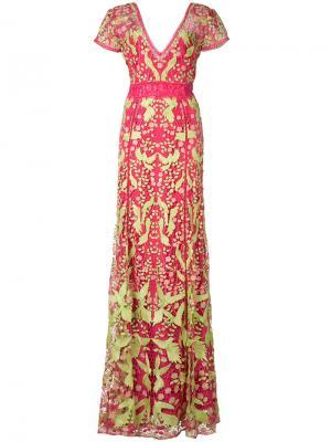 Платье с аппликацией в виде птиц Marchesa Notte. Цвет: розовый и фиолетовый