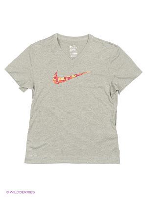 Футболка LEG VNECK SWOOSH FILL TEE YTH Nike. Цвет: серый