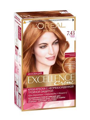 Стойкая крем-краска для волос Excellence, оттенок 7.43, Медный русый L'Oreal Paris. Цвет: рыжий