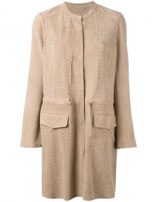 Куртка с перфорацией Meteo By Yves Salomon. Цвет: коричневый