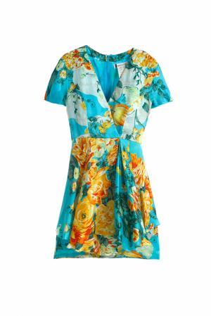 Шелковое платье Guy Laroche Vintage. Цвет: голубой, оранжевый, желтый
