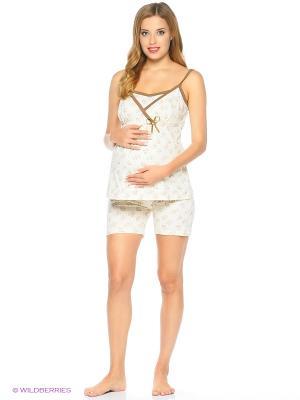 Комплект домашней одежды для беременных и кормления ( майка, шорты) 40 недель. Цвет: молочный, розовый