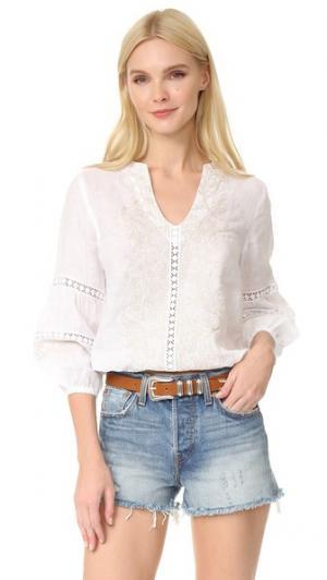 Блуза с вышивкой Temptation Positano. Цвет: белый
